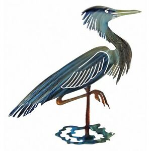"""BLUE HERON 14""""W x 15"""" Unique Hand-crafted 3D Metal Wall ART RefraXions Sculpture"""