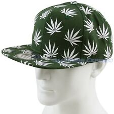 New Green with White Marijuana Leaf Cannabis Weed Snapback Hat Cap Adjustable