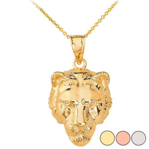 Solid Gold Or .925 Sterling Silver Mighty Lion's Head Pendant Necklace