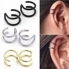Sterling Silver Simple Wavy Ear Cuff Wrap Clip Hollow Star Earring No Piercing