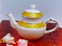 Vintage Porcelain Art Miniature Teapot White Richly Gilded