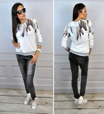 Women'S Casual Pullover Feather Floral Print Jumper Long Sleeve Sweatshirt Tops