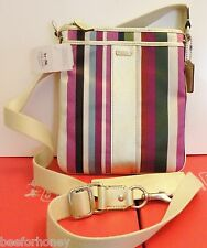 NWT Coach 48615 B Box Legacy Stripe Swingpack Bag Crossbody Multi Color
