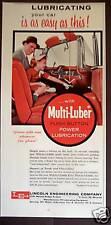 1956 Multi-Luber push button Car Lubrication print ad
