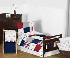 5pc Red White Blue Baseball Sports Boy Toddler Kid Bedding Set by Sweet Jojo