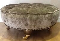 Large Round Deep Buttoned Footstool Stool In Laura Ashley Caitlyn Truffle Fabric