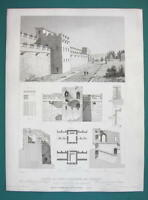 ARCHITECTURE PRINT 1850 - ITALY Fortifications of Pompeii Gate Walls