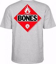 Powell Peralta Bones Flammable Skateboard Shirt Ash Grey Medium