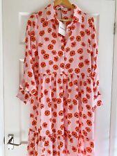 GLAMOROUS @ Asos Pink Poppy Flower Tiered Prairie Midi Maxi Dress Size 10