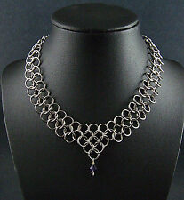 Game of Thrones Chainmail Necklace Purple Crystal Steampunk Renaissance Cosplay