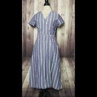 H&M size 8 women's blue & white chambray striped cotton blend midi wrap dress