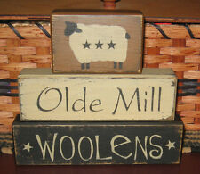 PRIMITIVE COUNTRY OLDE MILL WOOLENS  3 pc  BLOCK SET