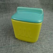 Vintage Franciscan Ware Condiment Jar Jam Jelly Yellow And Turquoise