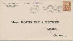 "USA 1904 Daniel Webster 10C EF Schiffspost Schiff S.S. ""Etruria"" Cunard Steamer"