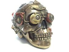 Steampunk Skull Statue with Leather Texture Trinket Box  - WE SHIP WORLDWIDE