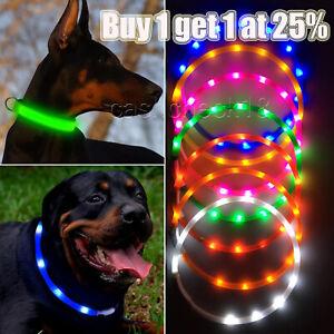 USB-Rechargeable Safety LED Light Up Dogs Pet Collar Flashing Size Adjustable UK