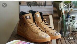 🔥Converse Sz 8.5 Bandulu x Pro Leather Mid 169908C Tan/ Paint Splatters
