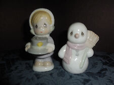1994 PRECIOUS MOMENTS COMPANY LITTLE GIRL AND SNOWMAN SALT AND PEPPER SHAKER EUC