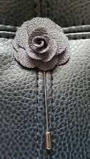 Men's Lapel Flower Pin Rose Prom Wedding Boutonniere Stick Tie Gray Grey NEW !