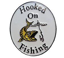 Hooked On Fishing Fish On Hook Rod Fisherman 30mm Metal Enamel Badge NEW