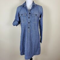 J CREW Factory Denim Chambray Shirt Dress Roll Up Sleeves Women's Size XS