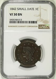 1842 Small Date NGC VF 30 BN Coronet Head Large Cent ☆☆ Great For Sets ☆☆ 013