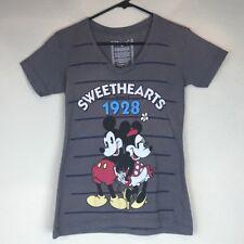 Sale Women's Gray Disney Mickey & Minnie Sweathearts V-Neck T-Shirt, Size Xs