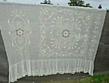 "Vintage Antique Lace Bedspread 49 x 95 with 15"" drops"