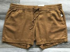 "OLD NAVY Size Small Women's Pull-On Linen Blend 4"" Inseam Brown Shorts NEW"