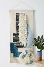 NEW Anthropologie tan black blue turquoise Shaggy Wool Cotton Woven Wall Art