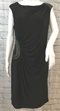 NWT Cartise Size 12 Black Chain Accented Ruched Sleeveless Sheath Dress $250