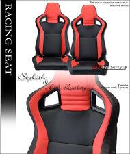 2X UNIVERSAL MU BLACK/RED PVC LEATHER w/STITCHES RACING BUCKET SEATS+SLIDERS G25