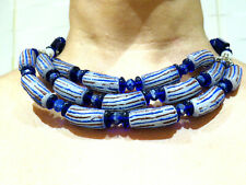 African Beads Blue Three Strand Necklace