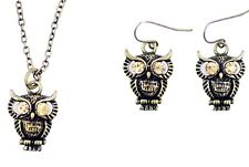 Vintage style owl necklace and earrings set
