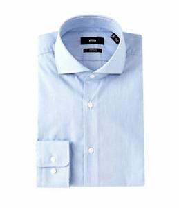 HUGO BOSS MARK US BLACK LABEL EASY IRON DRESS SHIRT SHARP FIT BLUE  -NWT