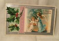 Embossed Christmas Postcard A PEACEFUL CHRISTMAS Two Angel Girls