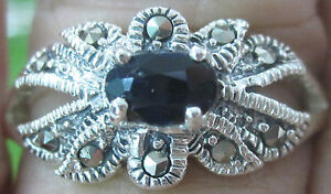 REAL 925 sterling silver NATURAL Genuine SAPPHIRE Marcasite Ring Big size WOMEN