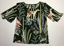 Ann Taylor Size Petite Small PS Green Floral And Animal Print Blouse
