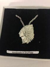 """Indian Chief PP-W05 Emblem Silver Platinum Plated Necklace 18"""""""