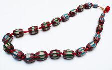 Ancien long Collier Perles Pâte de verre Venise Inde du Nord 19e