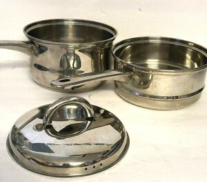 Vintage Super Chef 3 Quart Sauce Pot With Steamer & Lid Stainless Steel EUC