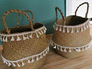 Seegraskorb  Henkelkorb leicht Blumen Pflanzen Tasche Übertopf 2 Stück