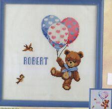 Stickpackung Stickbild sticken 32x33 cm Baby Geburt Teddy mit Luftballons Bär