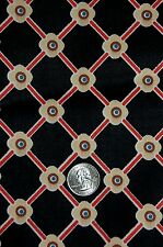 "VINTAGE 3 YARDS & 33"" DESIGNER COTTON FABRIC BOB VAN ALLEN BLACK GEOMETRIC"