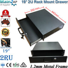 "2RU 1.2mm Solid Metal Network Data Cabinet 19"" Rack Mount Drawer 350mm 14"" Deep"