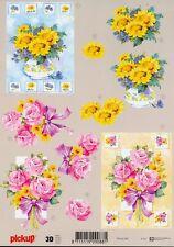 Feuille 3D à découper A4 - Pickup-060 Fleur Rose Tournesol - Decoupage Flowers