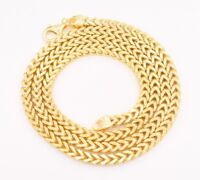 """30"""" 5mm Italian Square Franco Chain Necklace 14K Yellow Gold Clad Silver 925"""