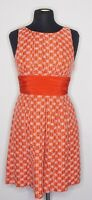 Frock By Tracy Reese - Coral Linen Silk Embroidered Dress Inverted Pleat - sz 8