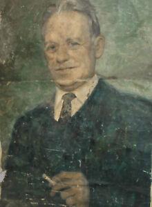 Antique large 39 '' oil painting portrait