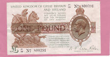 T32 (rarer) 1923 FISHER TREASURY £1 ONE POUND NOTE Square dot type aEF TR18d